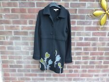 Laura Ashley long lambs Wool Cardigan in Black with flower design size 12