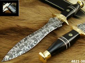 HANDMADE 11.9''  ACID ETCH STAINLESS STEEL HUNTING DAGGER KNIFE (4821-38