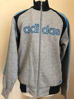 Mens Adidas Jacket Grey Size Medium Blue Stripe Sports Running Football