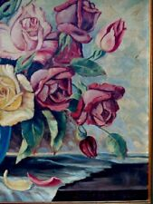 Gemälde Rosen in Vase großes Ölbild sign. 1965 Stilleben üppige Blumen antik