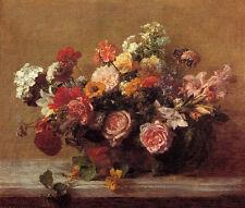 Dream-art Oil painting Latour - nice flowers still life peony in vase hand paint