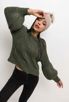 Balloon Sleeve Cropped Chunky Cable Knit Jumper BNWT Red   Mustard   Green