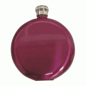 5oz Round Metallic Pink Hip Flask Ideal Birthday Christmas Wedding present