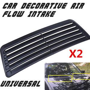 Universal 2pcs Car Decorative Air Flow Intake Scoop Turbo Bonnet Vent Cover Hood