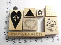 Wooden RUBBER STAMP Lot Hearts Flowers Valentines