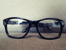 Black Geek Nerd Clear Lens Retro Vintage Fashion Eye Glasses 60s 80s