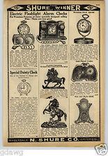 1913 PAPER AD Electric Flashlight Alarm Clock Bank Searchlight