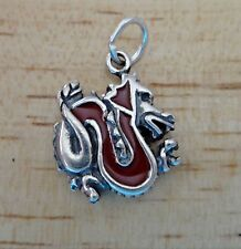 Sterling Silver 18x15mm Red Enamel Chinese Dragon Charm!