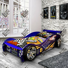 Blue Single Kids Children Night Sports Racing Car Bed Beds Bedroom For Boy Girl