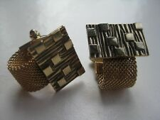 Around Mesh Abstract Brutalist Cufflinks Vintage Signed Anson Gold Plate Wrap