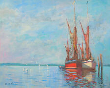 """Big 16""""X20"""" Original Oil UK Seascape Listed Artist Barges Seago Interest"""