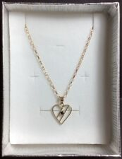 "9 Ct Gold Necklace: Heart & Sapphire Pendant w/16 Inch Chain, HM: ""9K"""