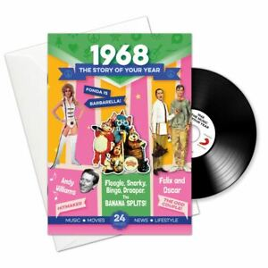 53rd Anniversary or Birthday gifts ~ Booklet , Music & Card; 1968 in one present