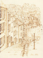 Arthur Mitson - Mid 20th Century Pen and Ink Drawing, Hastings Street Scene