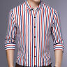 Mens Dress Long Sleeves Shirts Casual Luxury Slim Fit Striped Multicolor EC6490