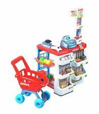 Kinder Supermarkt Laden Zubehör Einkaufswagen Licht Sound Scanner Kasse Shop