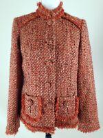 CHICO'S~Women's Size 0~Orange/Brown Tweed Wool Bland Career Work Jacket Blazer .