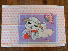 Vintage Shari Lewis LAMB CHOP Pillowcase 1993 Pink Purple Hearts Butterflies