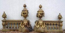 Paire chenets bronze décor têtes lion style Louis XVI d'époque 19ème