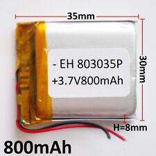 3.7V 800mAh LiPo polymer li ion Battery For mobile phone DVD GPS GPS mp3 803035