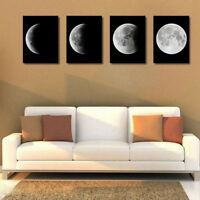 4pcs Unframed Canvas Oil Painting Picture Moon Phase Wall Art Poster Decor