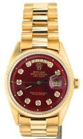 Mens Rolex Day-Date President 18KT 18K Yellow Gold Watch Red Diamond Dial 1803