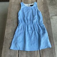 Tween Girls Laundry Blue Short Sleeveless Dress Studs Pockets Size 10