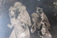 ANTIQUE FRENCH BOUDOIR KEEPSAKE BOX PRETTY CHILDREN & DOGS CARTOUCHE c1900's