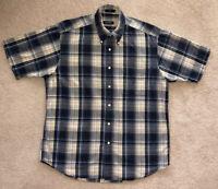 Mens Nautica Button Front Blue & Yellow Plaid Short Sleeve Shirt Size L
