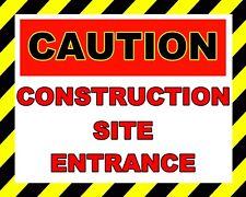 """10"""" x 8"""" CAUTION CONSTRUCTION SITE ENTRANCE BUILDING SITE METAL PLAQUE SIGN 807"""