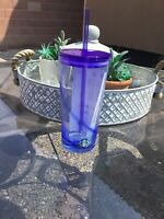 New STARBUCKS Glass Tumbler with Blue Swirl Summer Collection 18 oz Cold Cup..V1