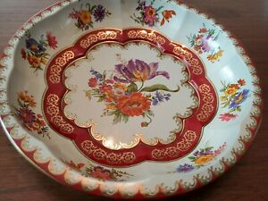 """Vintage 1971 Daher Decorated Ware Round Floral Tin Bowl 10"""" Made in England"""