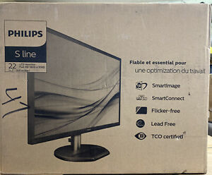 "NEW PHILIP 221SBLDSB/27  S-line - LED monitor 22"" 21.5"" viewable 1920 x 1080"