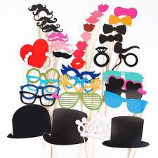 44pcs DIY Photo Booth Props Moustache Hat Glasses Stick Wedding Christmas Party