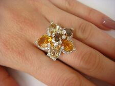 LEVIAN IMPRESSIVE CITRINE, TOPAZ AND DIAMONDS DESIGNER RING 14K GOLD 10.5 GRAMS