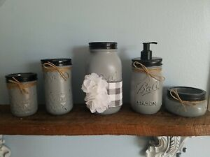 Farmhouse 5 piece Shabby chic mason jar bathroom set in dark grey buffalo plaid