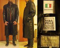 Men's Man Black Coat Overcoat Italian 100% Leather Made in Italy Craftsmansh