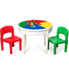 3 In 1 Kids Activity Table Set Water Craft Building Brick Round Table w/ Storage