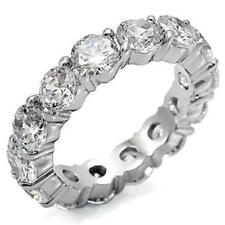 4 TCW .925 Sterling Silver Round CZ Eternity Bridal Wedding Ring Band Size 8.5