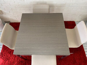 4 seater dining table, Grey colour, Stainless Steel Legs, 4 Chairs