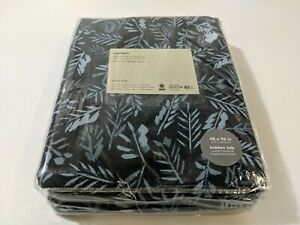 "West Elm Cotton Canvas Tossed Ferns Curtains (Set of 2) - Midnight 48"" x 96"" NEW"