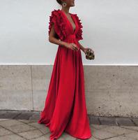 Womens V Neck Ruffle Sleeve Maxi Dress Evening Party Cocktail Sexy Long Dress AU