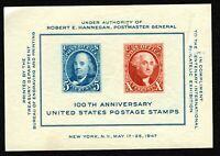 Scott 948 1947 CIPEX SOUVENIR SHEET 100th Anniversary US Postage Stamps MNH