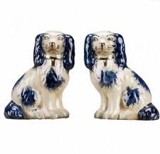 Staffordshire King Charles Blue Spaniel Dog Pair Small Figurines