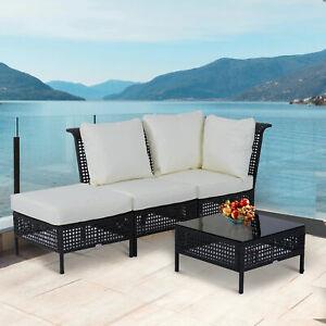 Rattan Sofa Table Set Single Seat Ottoman Rattan Coffee Table Garden Furniture