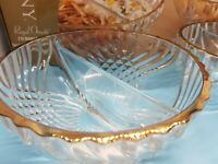 Colony Royal Ornate 2pc 22k Gold Divided Bowl Set By Indiana Glass, in box.