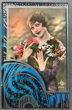 Beautiful Lady Art Deco Glamour Fashion Original Vintage Postcard
