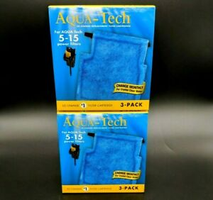 Aqua-Tech Power Aquarium Water Filter Fits 5-15 Power Filters 3 Pack - Set of 2