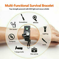 20 in 1 Travel Emergency Paracord Bracelet Survival SOS LED Compass Camping 06US