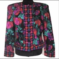 Maggy London Black Silk Button Blazer Jacket Pink Rose Floral Graphic NEW Sz 10
